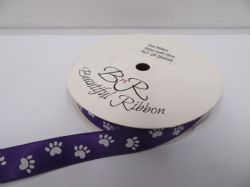 Dark Purple  with White Paw Print  Grosgrain or  Satin ribbon, 2 20 or 25 metres, Double sided 15mm